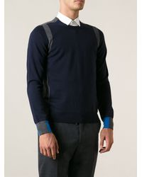 Maison Martin Margiela Blue Paneled Sweater - Lyst