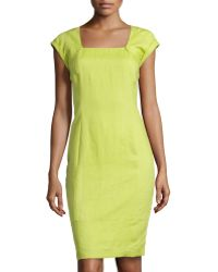 Lafayette 148 New York Dawn Square-Neck Sheath Dress - Lyst