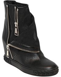 Casadei 90mm Perforated Leather Wedge Boots - Lyst