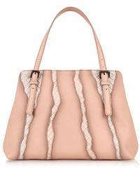 Bottega Veneta Flamingo Intrecciato Glimmer Leather Tote - Lyst