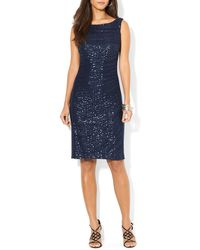Ralph Lauren Lauren Dress - Ruched Sequin Mesh Overlay - Lyst
