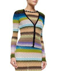 Missoni V-Neck Striped Cardigan multicolor - Lyst