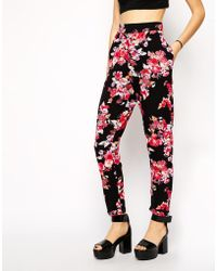 Asos Exclusive Peg Pants In Floral Print - Lyst
