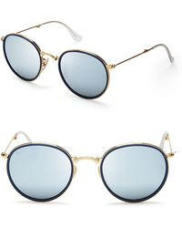 Ray-Ban Foldable Round Mirrored Sunglasses - Lyst