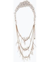 Zara Back Necklace With Pearls gold - Lyst