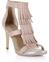 BCBGMAXAZRIA Leigh High-Heel Fringe Dress Sandal - Lyst