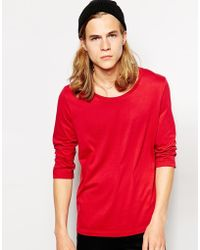 Asos Three Quarter Sleeve T-Shirt with Scoop Neck - Lyst