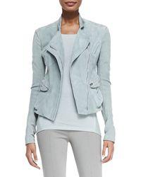 Donna Karan New York Suede Front-zip Moto Jacket - Lyst