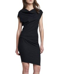 Helmut Lang Ruched Side Crepe Dress - Lyst