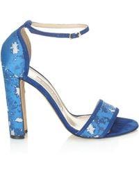 Manolo Blahnik Blue Silk Sonia Sandals - Lyst