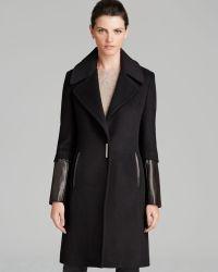 Elie Tahari Coat - Dawnson Leather Sleeve - Lyst