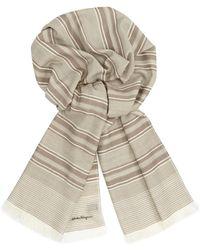 Ferragamo Mens Striped Wool Scarf - Lyst