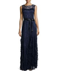 Rickie Freeman for Teri Jon Pintucked Lace Sleeveless Gown - Lyst