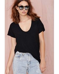Nasty Gal Juliana Ribbed Tee - Lyst