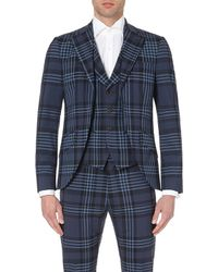 Vivienne Westwood Checked Waistcoat-Insert Jacket - For Men blue - Lyst