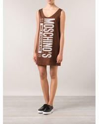 Moschino Satin Chocolate Bar Dress - Lyst