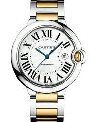 Cartier Ballon Bleu De 18Ct Yellow-Gold And Steel Watch - For Men silver - Lyst
