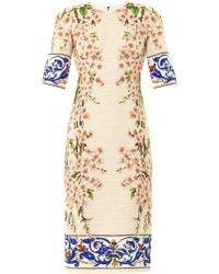 Dolce & Gabbana Almond Blossomprint Tweed Dress - Lyst
