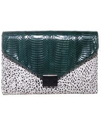 Loeffler Randall Forest and White Lock Clutch - Lyst