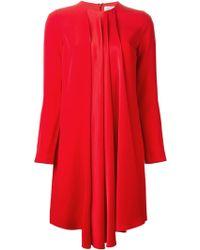 Victoria, Victoria Beckham Pleated Asymmetric Hem Dress - Lyst