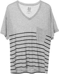 Zoe Karssen | Stripe Loose Fit V-neck Tee In Grey Heather/pirate Black | Lyst
