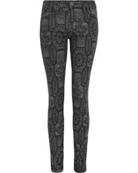 Current/Elliott The Ankle Skinny Printed Low-rise Jeans - Lyst