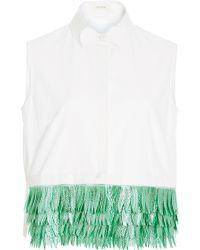 Delpozo - Sleeveless Cotton Button Up Shirt With Jacquard Fringe Hem - Lyst