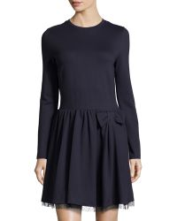 RED Valentino Bow-Waist Long-Sleeve Ponte Dress - Lyst