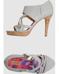Kenzo Gray Platform Sandals - Lyst