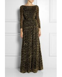 Alice By Temperley Donna Open-Back Lamé Rosette-Appliquéd Tulle Gown gold - Lyst