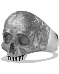 David Yurman Skull Ring with Carved Meteorite - Lyst