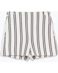 Zara High-Waisted Striped Shorts - Lyst