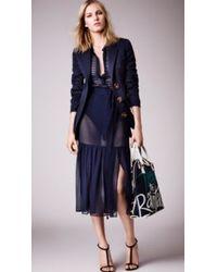Burberry Striped Wool Silk Chiffon Dress - Lyst