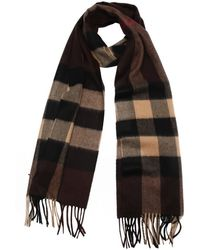 Burberry Brown Check Cashmere Woven Scarf - Lyst
