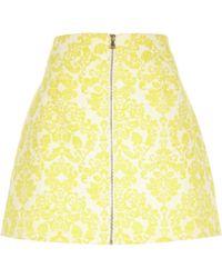 River Island Yellow Jacquard Zip Front Skirt - Lyst