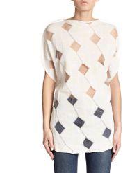 Junya Watanabe Mixed-Media Sweater white - Lyst