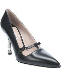 Miu Miu Black Leather Screw-detailed Mary-jane Pumps - Lyst