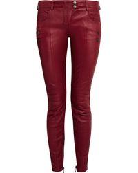 Balmain Paneled Leather Skinny Pants - Lyst