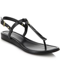 Cole Haan Boardwalk Patent Leather & Leather Thong Sandals black - Lyst