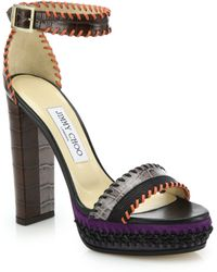 Jimmy Choo | Holly 120 Whipstitched Embossed Leather & Suede Sandals | Lyst