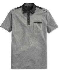 Sean John Chambray-trim Short-sleeve Polo - Lyst