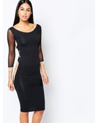 Quontum - Bodycon Midi Dress With Metallic Insert And Mesh Straps - Lyst