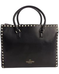 Valentino Black Leather 'Rockstud' Top Handle Small Tote - Lyst