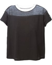 Moncler Sheer Panel T-Shirt - Lyst