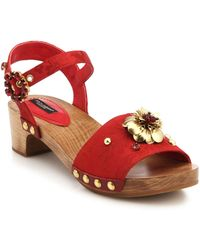 Dolce & Gabbana Jewel And Metal Flower Leather Wooden-Heeled Sandals - Lyst