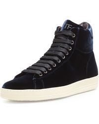 Tom Ford Russel Velvet Hightop Sneaker - Lyst