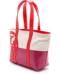 Tory Burch Small Dipped Beach Tote - Natural/Pink/Red - Lyst