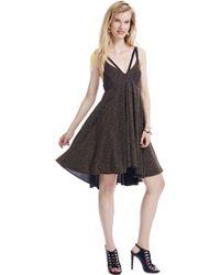 ABS By Allen Schwartz Metallic Babydoll Dress - Lyst