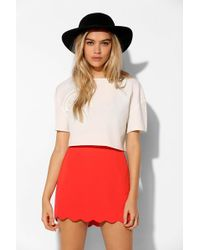 Cooperative - Crepe Scallop-Hem Mini Skirt - Lyst