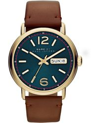 Marc By Marc Jacobs Mens Fergus Goldtone Watch With Leather Strap - Lyst